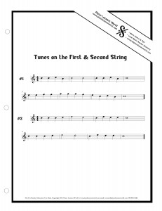Easy Guitar Tunes on the First and Second Strings